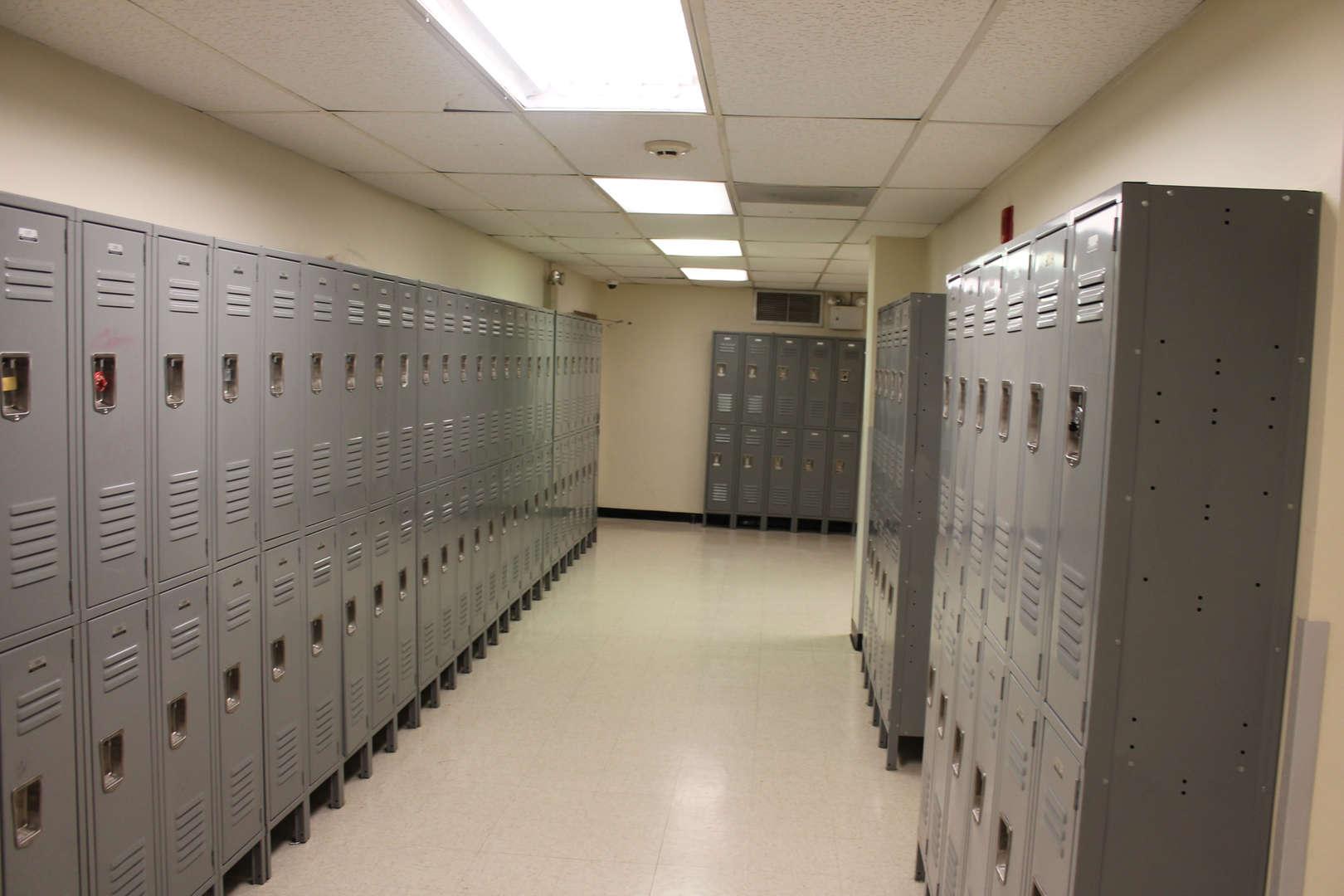 Lockers in a school hallway