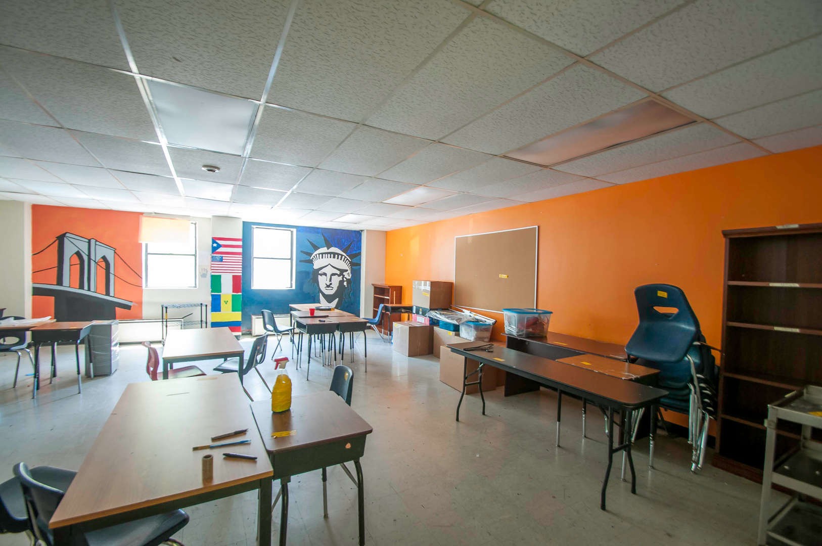 Interior Art Room with Brooklyn Bridge mural on far wall