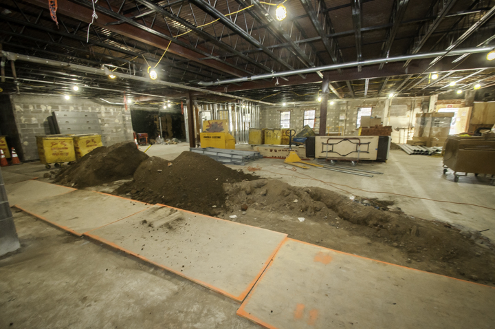 First Floor: Debris removal bins in background, foreground trenches for sewer pipes dug