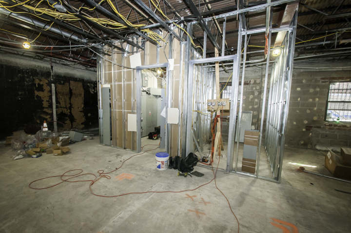 Interior wall framing for office space