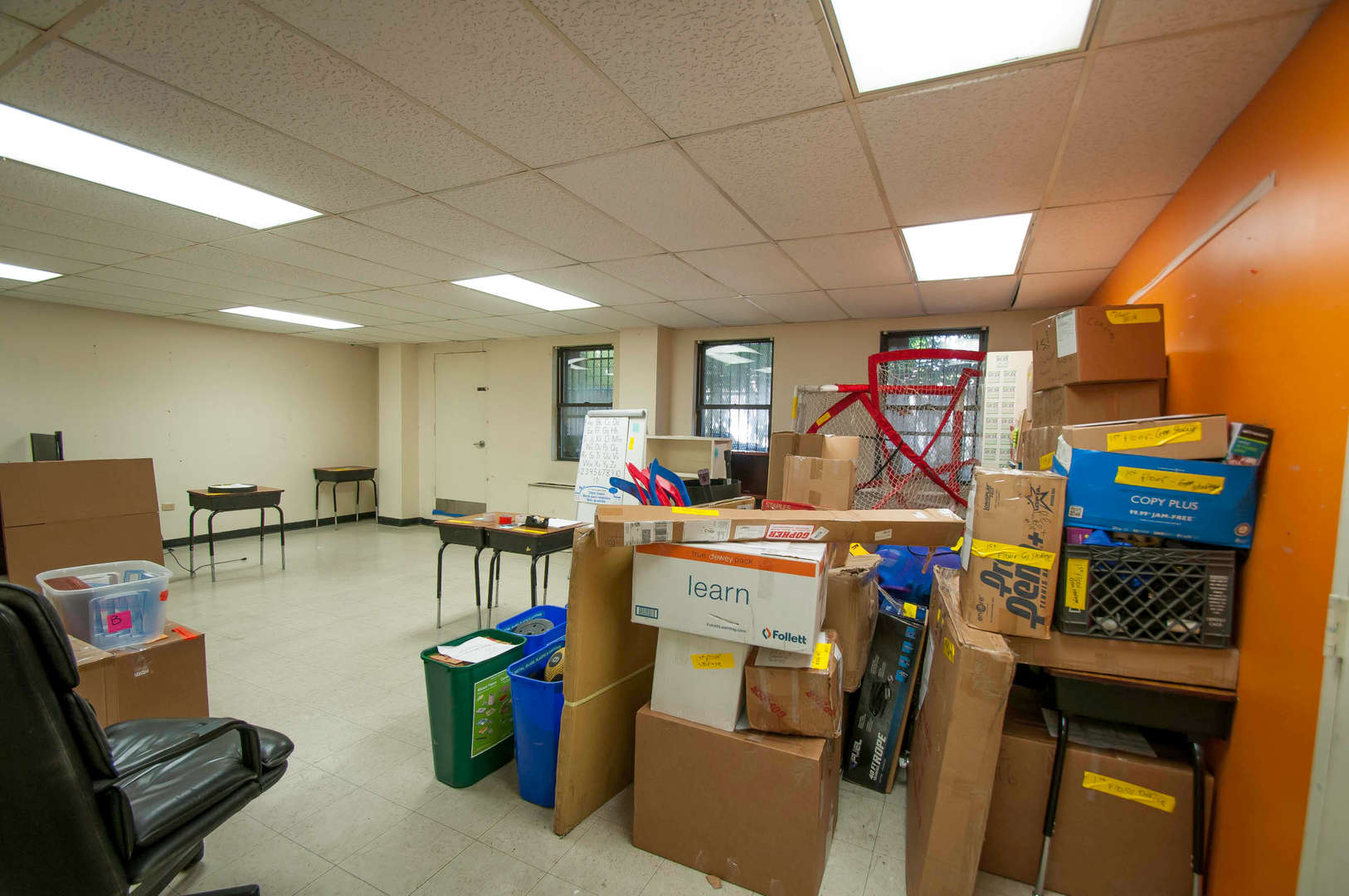 Interior Science Room with Boxes Packed