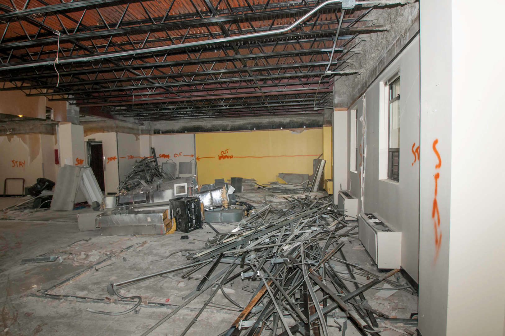 Interior third floor and administrative offices ceiling and walls demolished