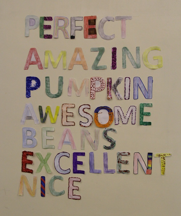 Poster with words: Amazing, Pumpkin, Awesome, Beans, Excellent