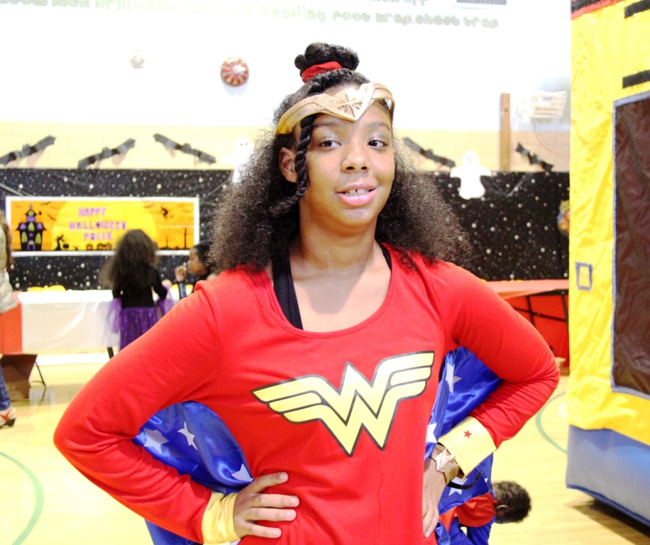 Female student in wonder woman costume