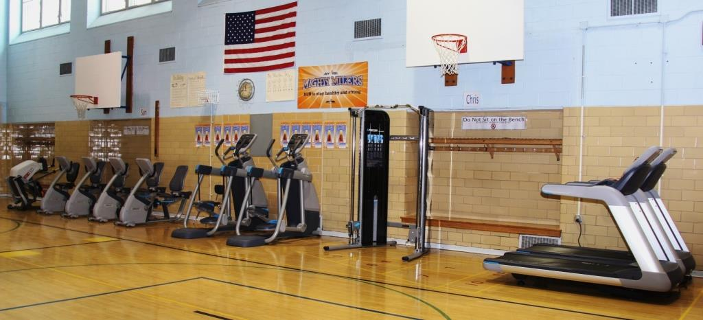 Exercise machines at the school gym