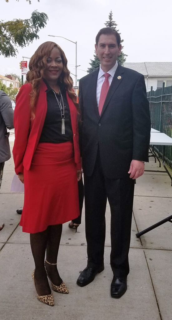 Council Member Chaim Deutsch, with Antoinette Rose, Principal of The Connie Lekas School, P811K