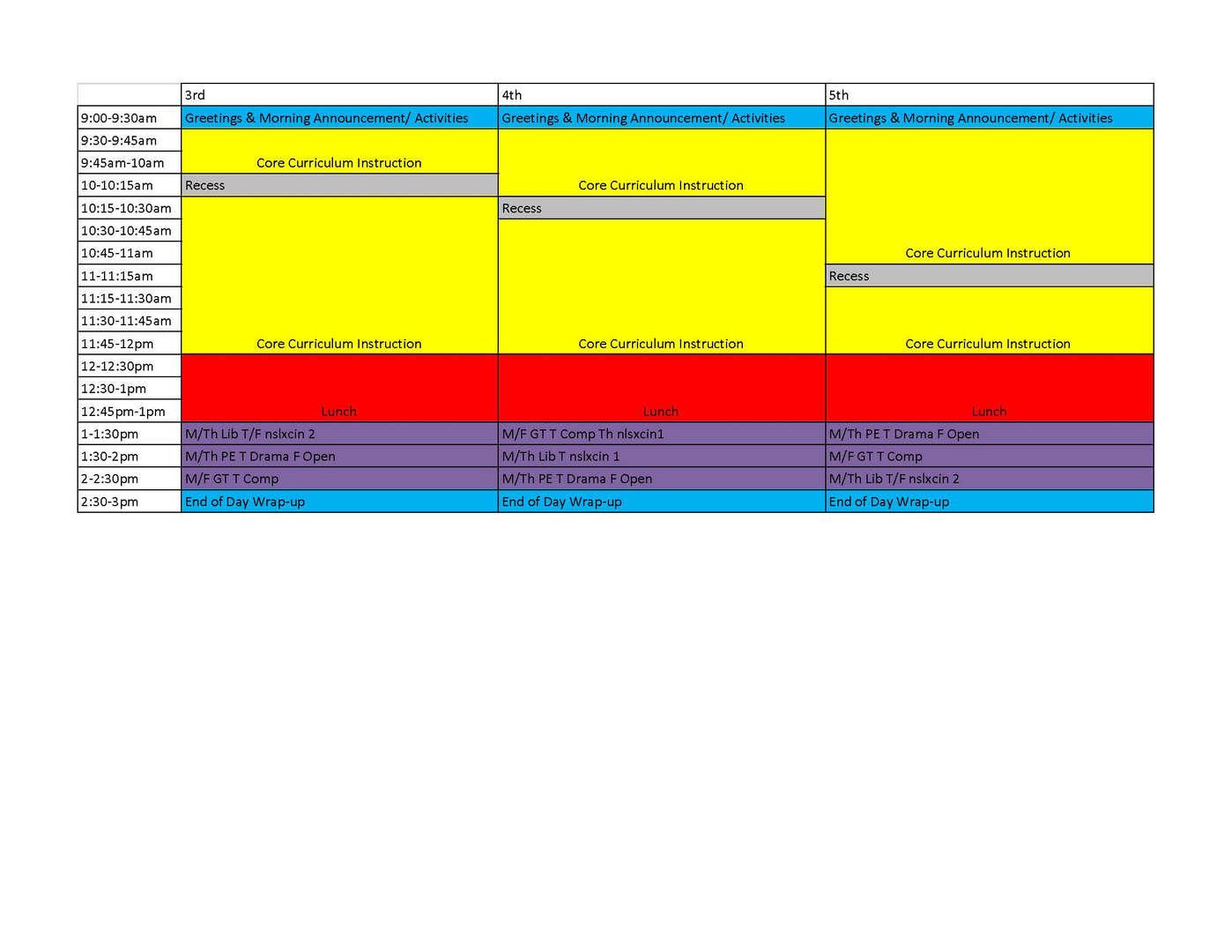 3-5 grade schedule