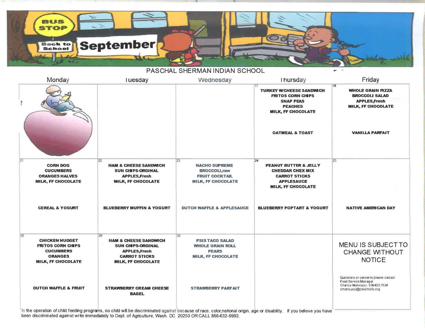 lunch menu for september