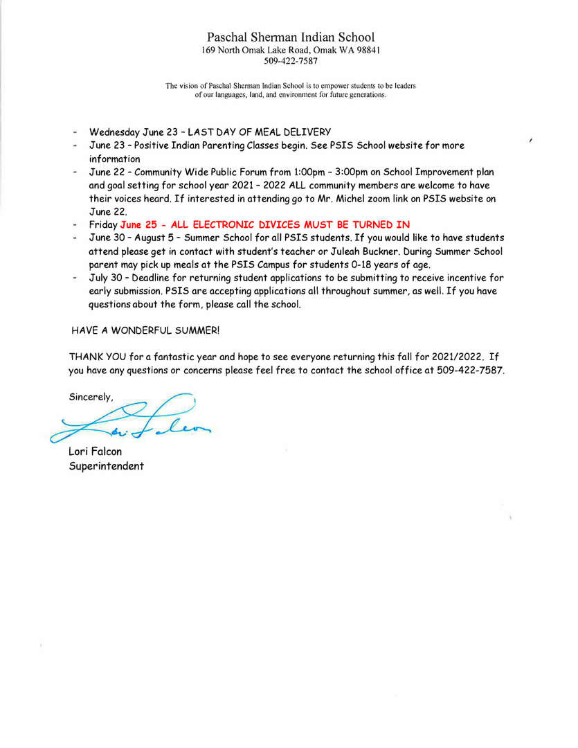 page two of letter from superintendent