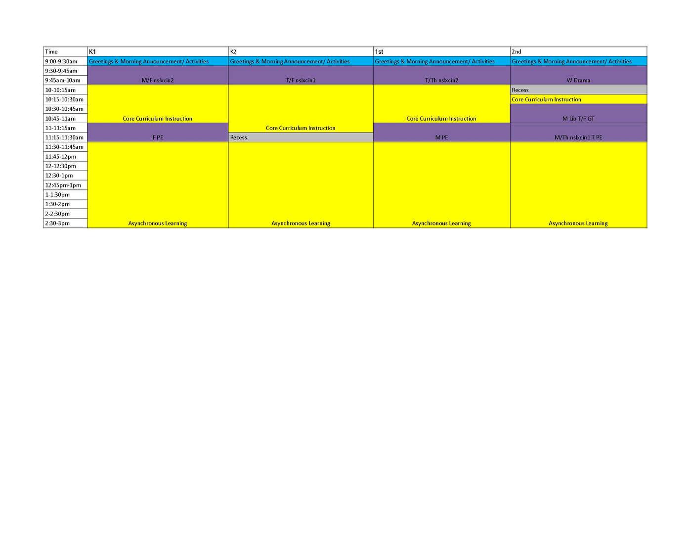 k-2 schedule