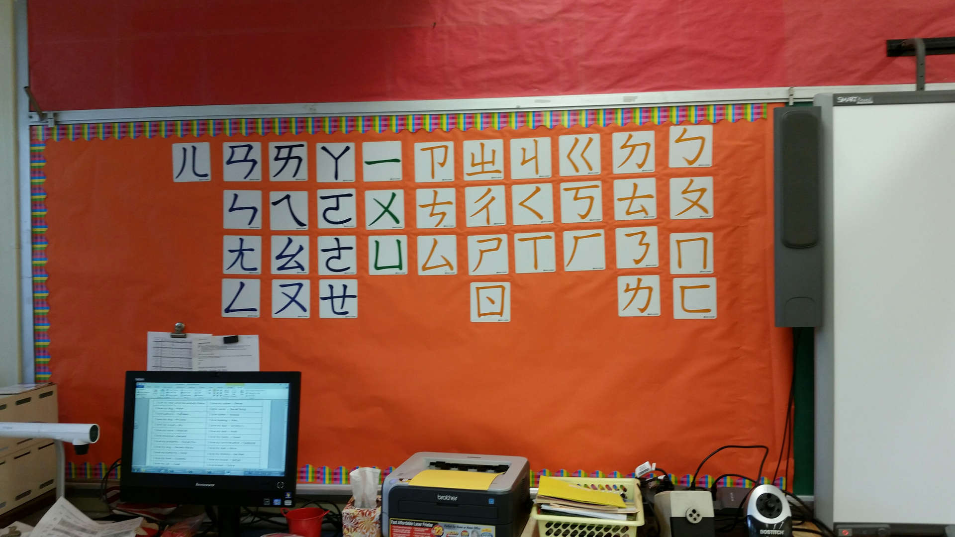 Table of phonetic symbols in the classroom.課室中的注音符號表。