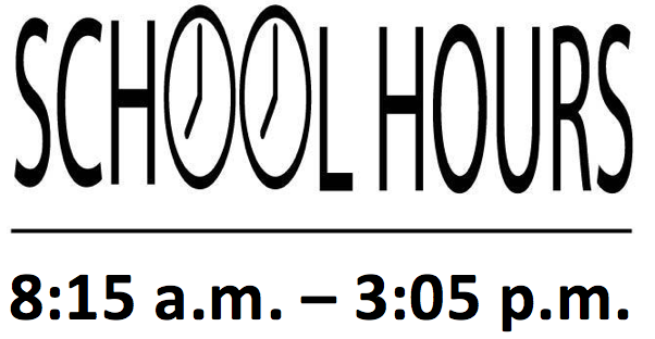 School hours 8:15 a.m. to 3:05 p.m.