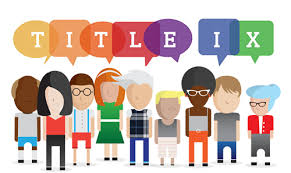 A title image of various people with Title IX spelled in thought bubbles.