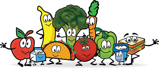 A clipart image of smiling fruits and vegetables.