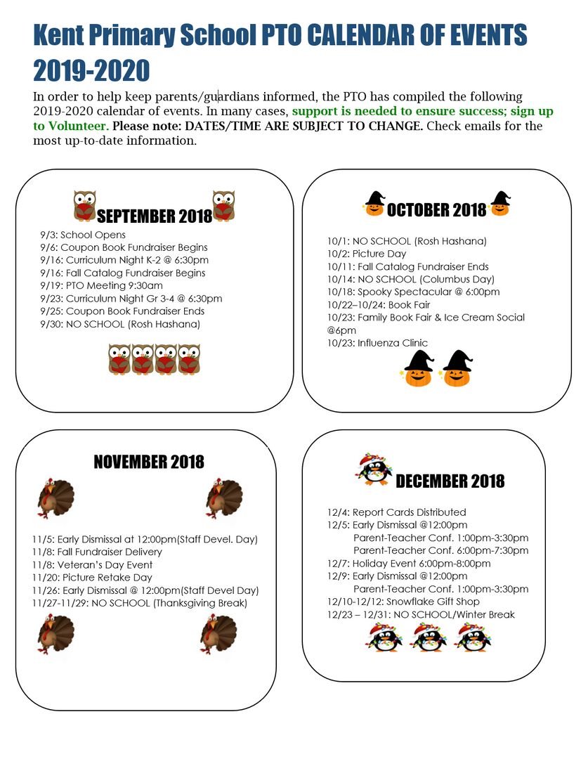 KPS PTO Calendar of Events for Sept.-December 2019