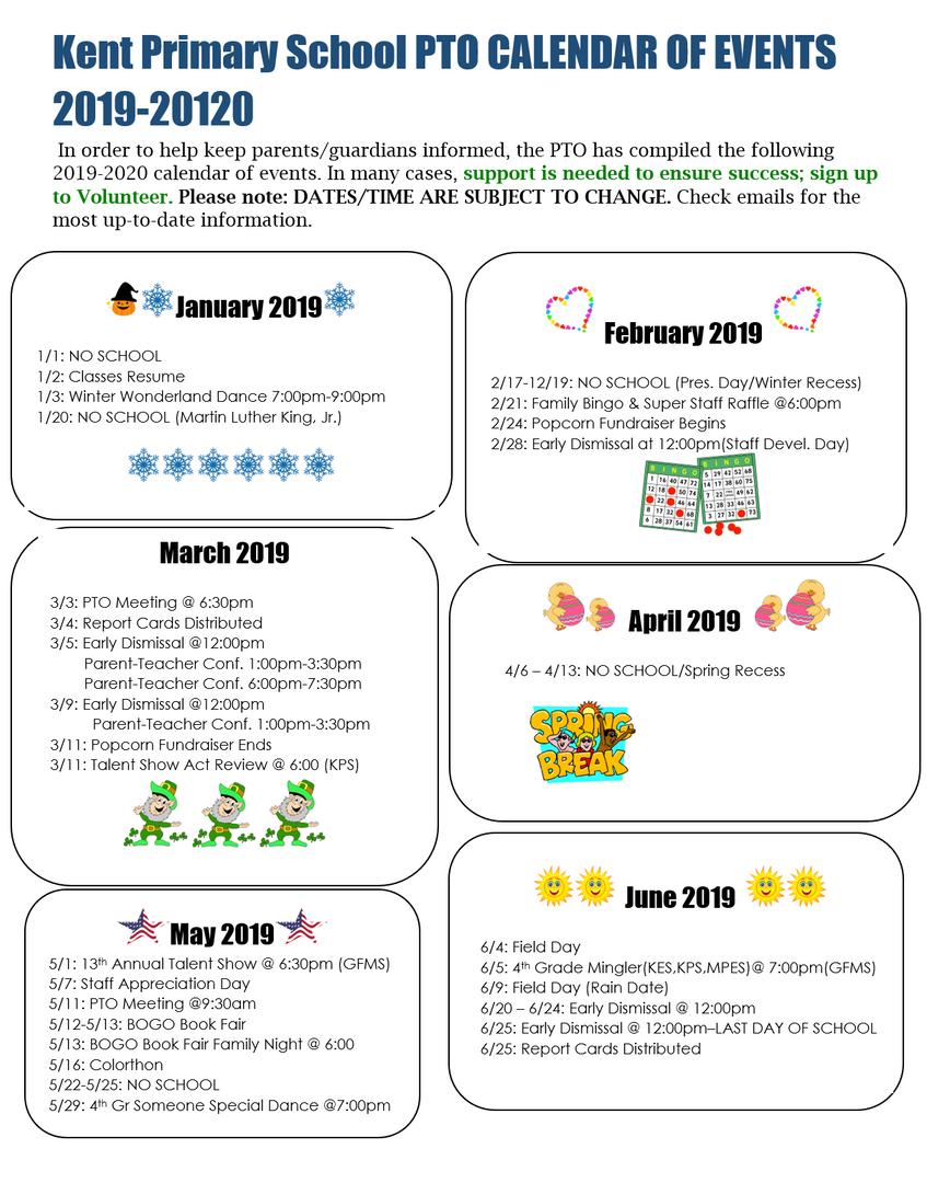 KPS PTO Calendar of Events for Jan.-June 2020