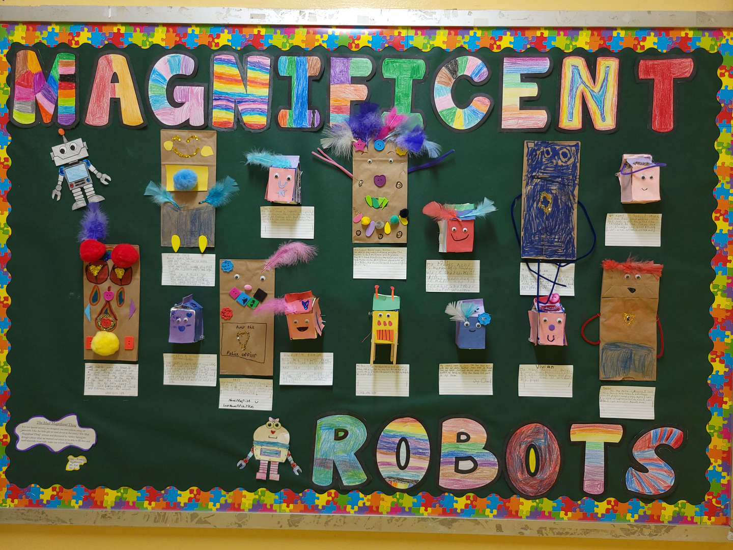 School bulletin board of the robots the students built.