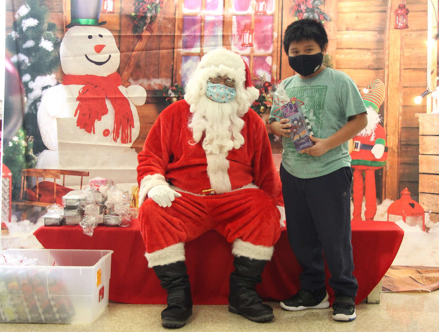 Santa with  a student.