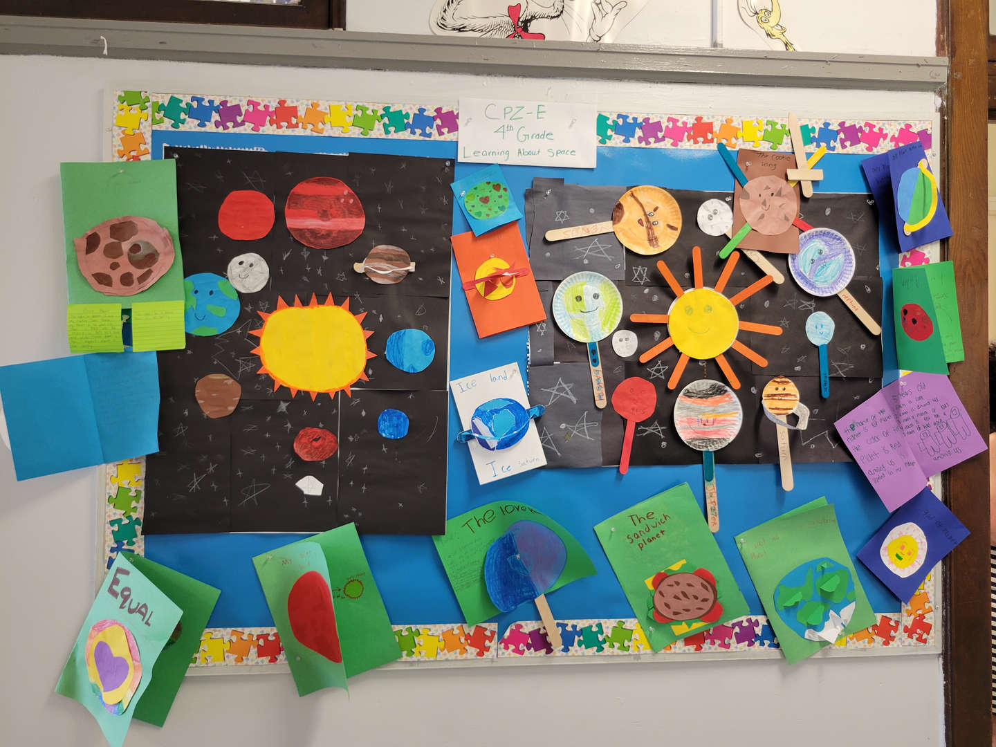 A bulletin board displaying the solar system.
