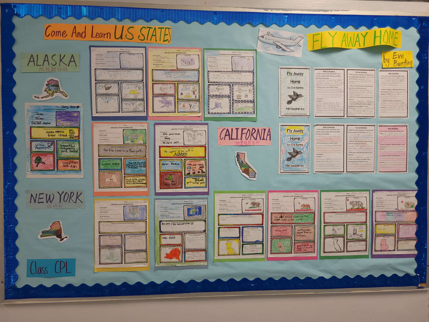 This bulletin board shows how the students learned to identify the setting, mood and tone of texts.
