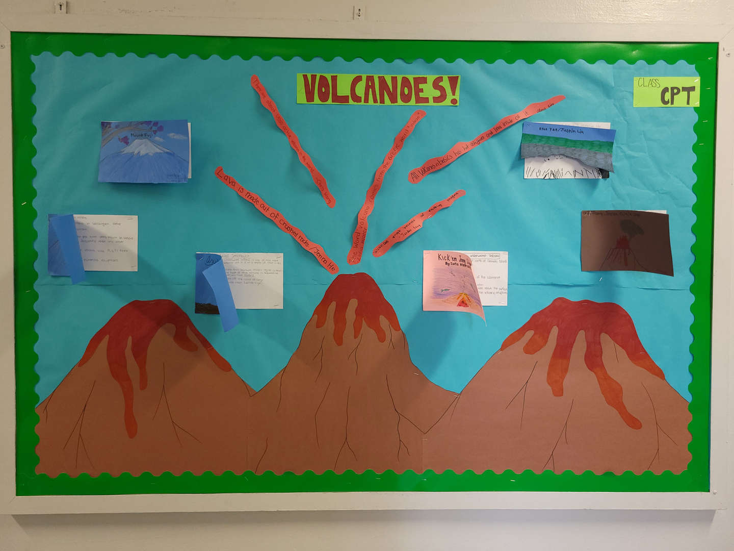 This bulletin board contains information about volcanoes.