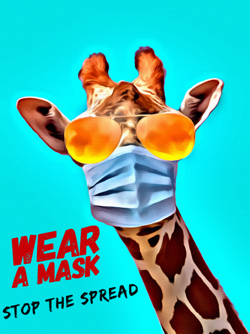 Graphic art of giraffe wearing a mask.