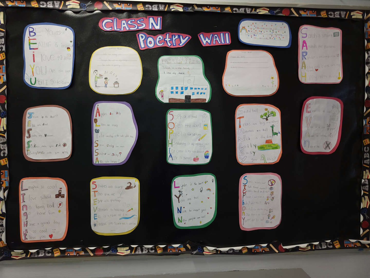 Poetry writing by our students.
