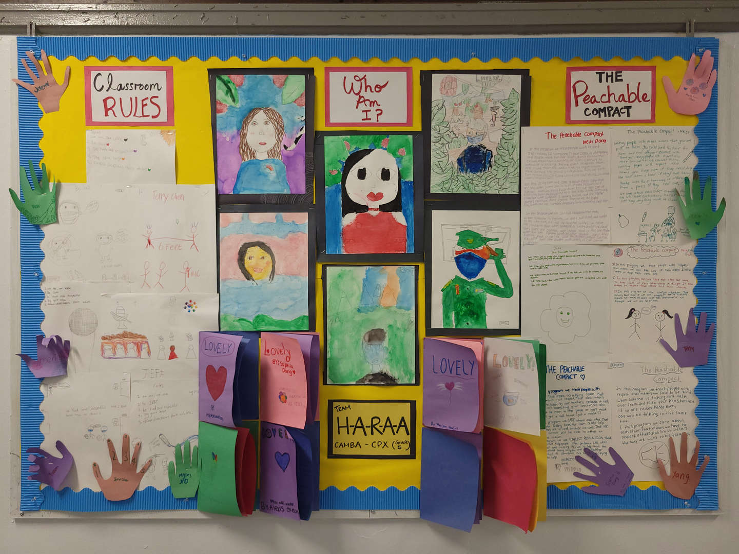This bulletin board contains writing pieces that introduce the students in the class.