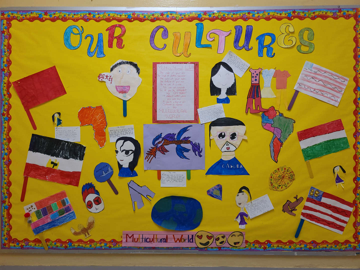 A school bulletin board representing student's cultures and heritages.