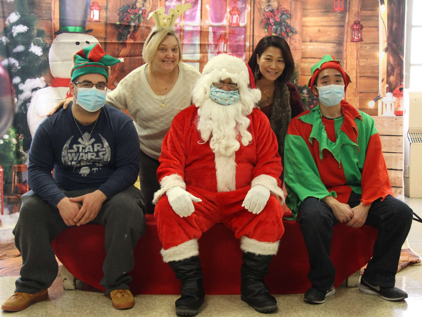 Support staff with Santa.