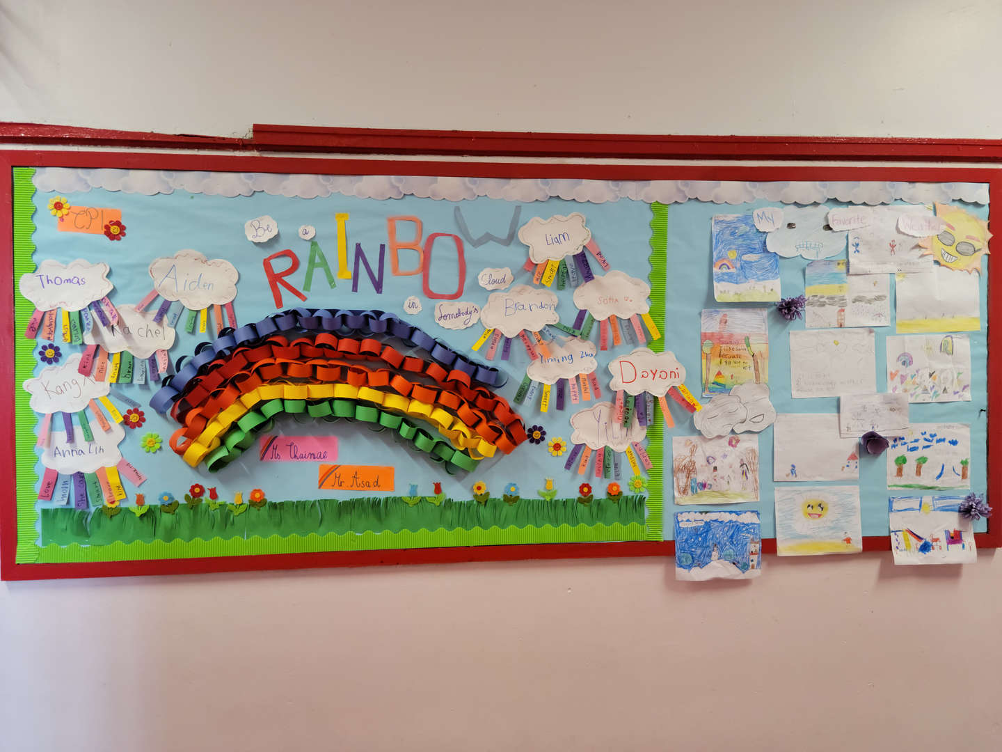 A school bulletin board showing words that express kindness.