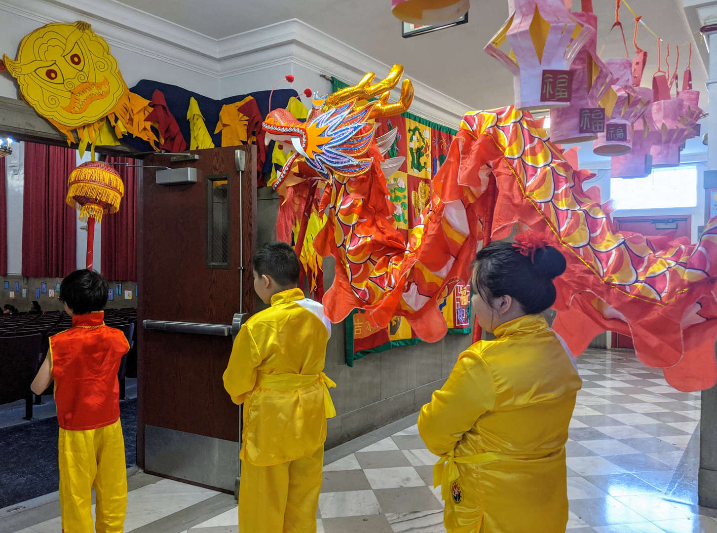 Chinese dragon waiting to enter auditorium.