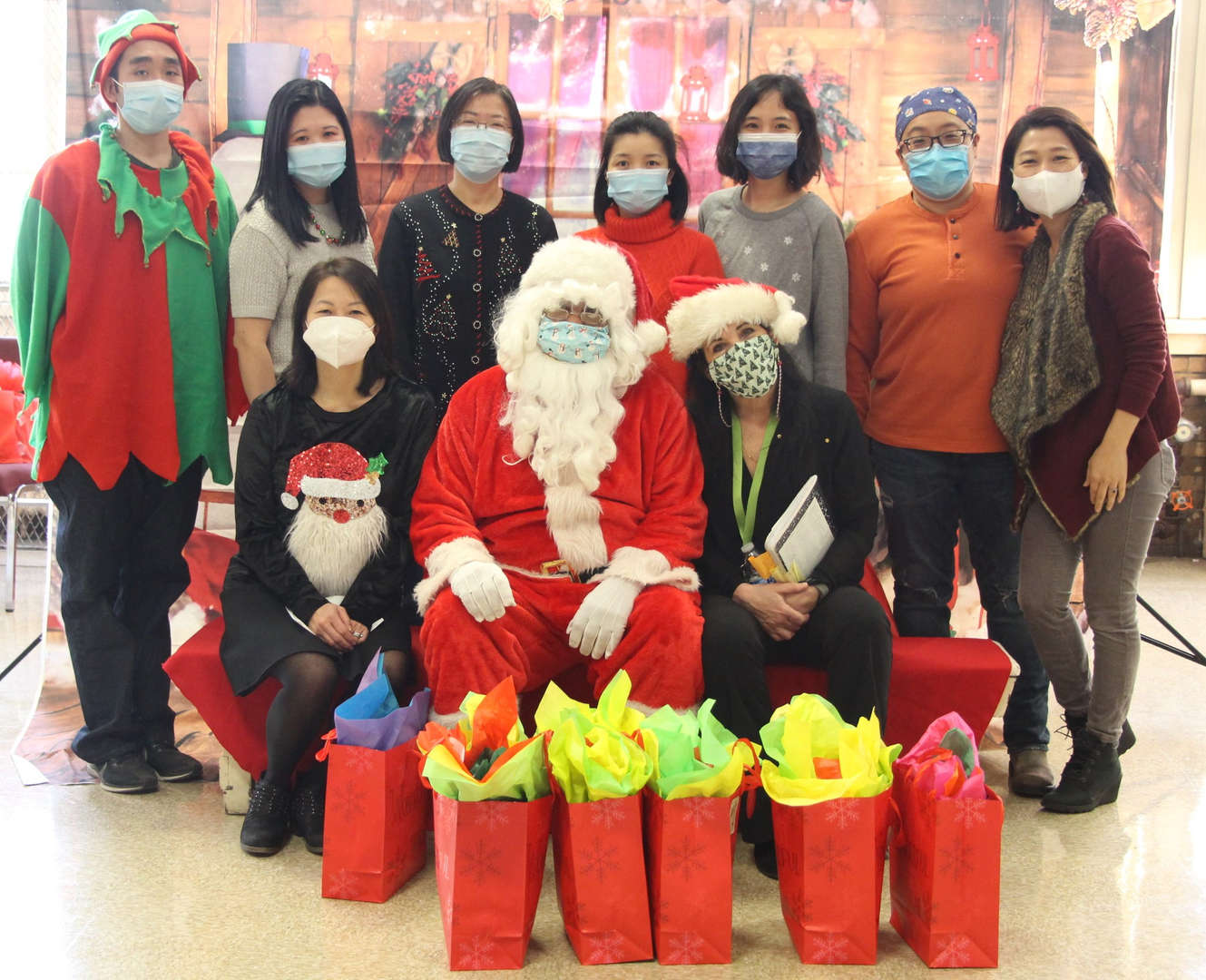 Support staff with Santa