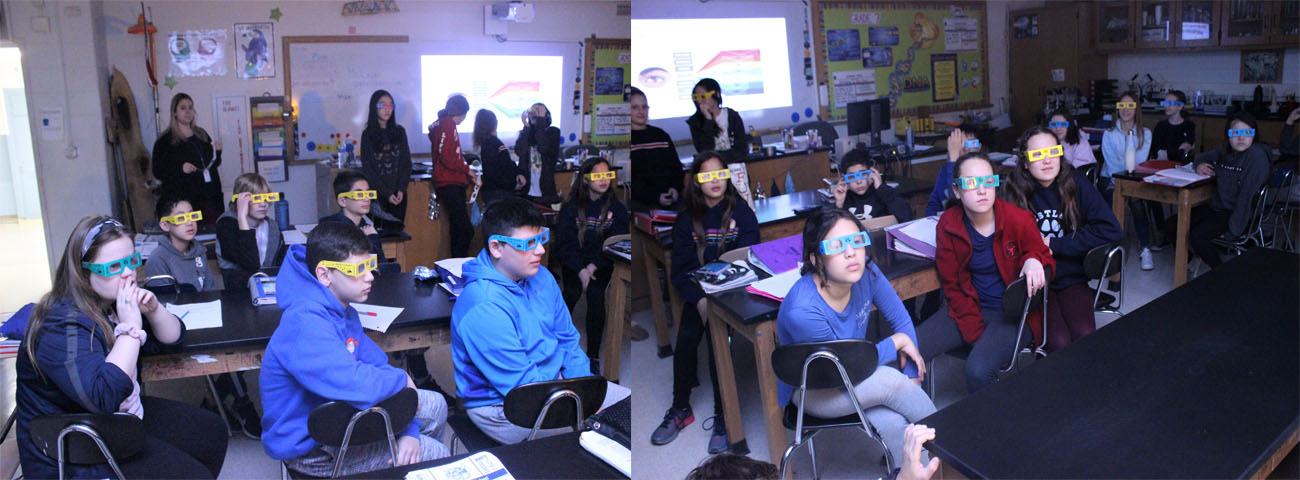 Seventh graders learn about light rays.
