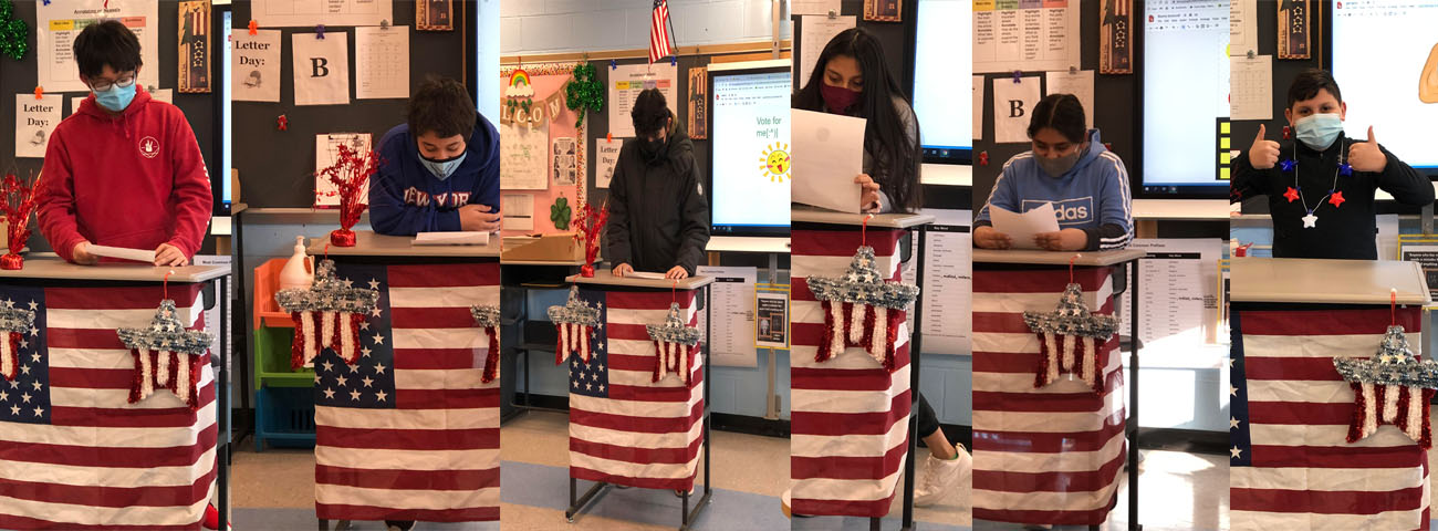 Students stand in front of a podium giving persuasive speeches