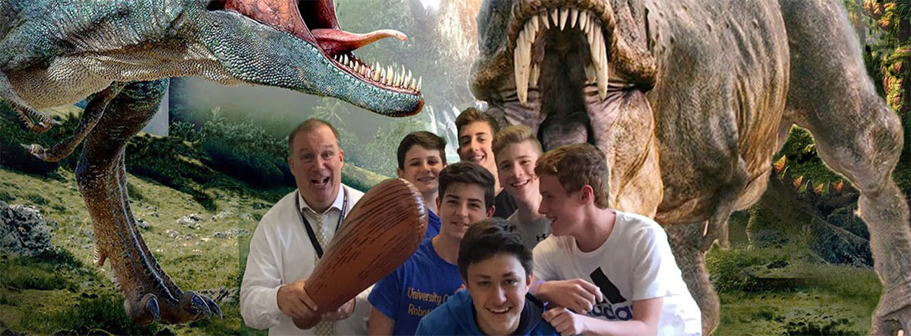 Mr. Messemer and students with dinosaurs!