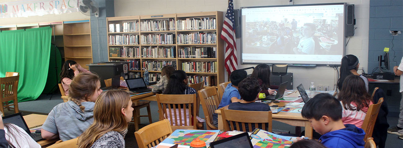 Mystery Google Hangout. Ms. Angle's Seventh Grade Class hangouts via webcam with a seventh grade class in Pennsylvania. Through clues each class had to guess what state the the other was from.