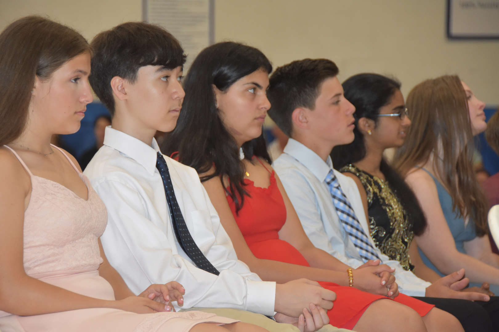 Eighth Graders at the Moving-Up Ceremony.