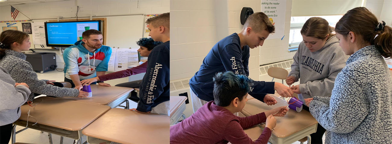 Students engaging in a team building activity in Mr. Korzen's class.