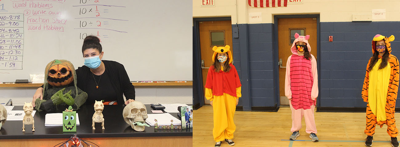 Ms. Paganelli and a friend. Also, Winnie, Piglet and Tigger.