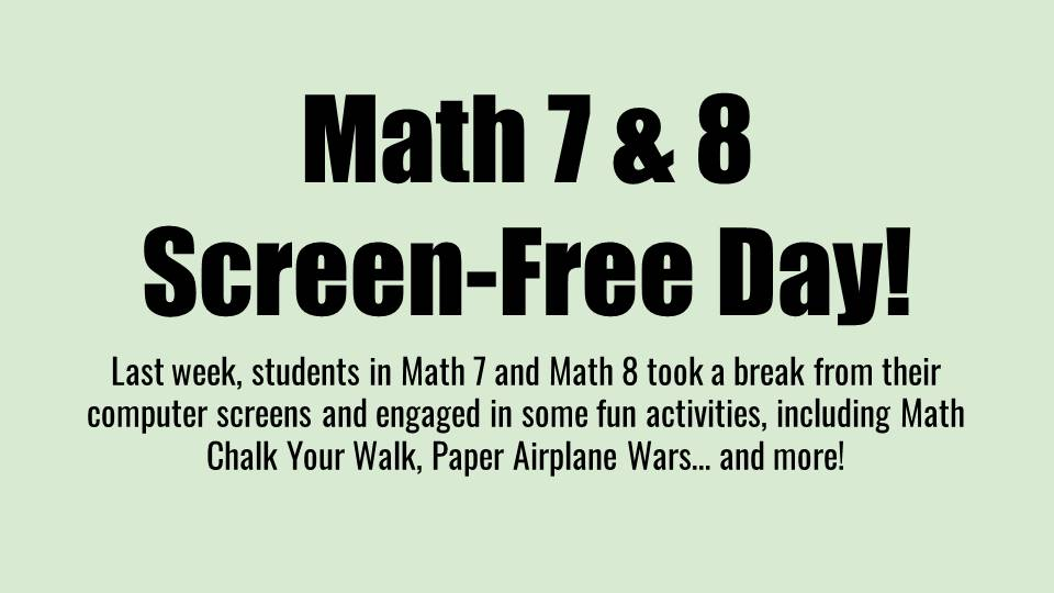Screen Free Day--7-8 Grade Math