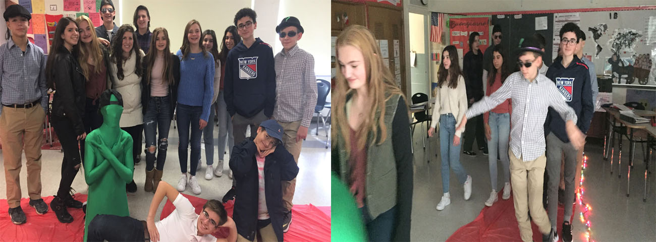 In Mrs. Ruggiero's Eighth Grade Italian Classes, students produced a fashion show in Italian.