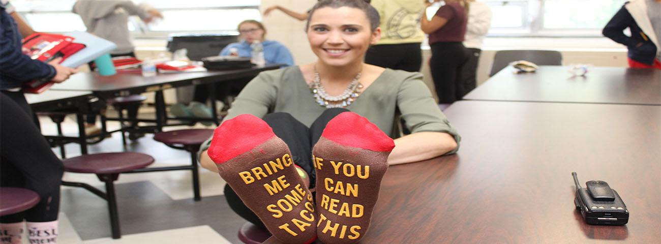 Mrs. Iannone's wacky socks for Wacky Wednesday!
