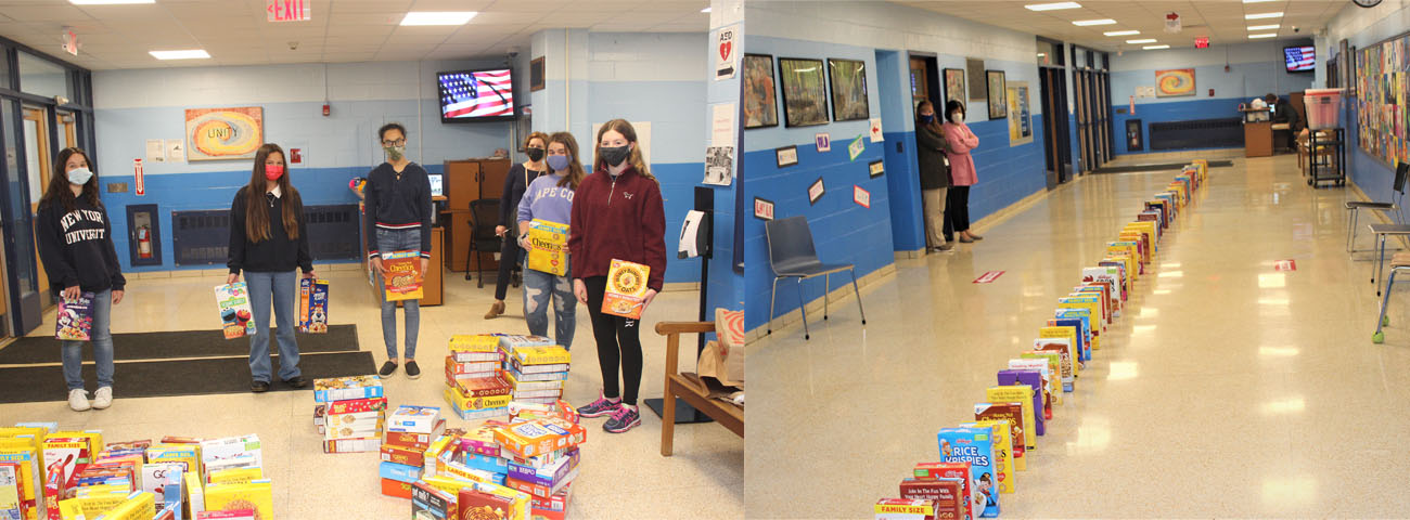Student Council sponsored Cereal Domino. Students brought in cereal which is being donated to a local food pantry.