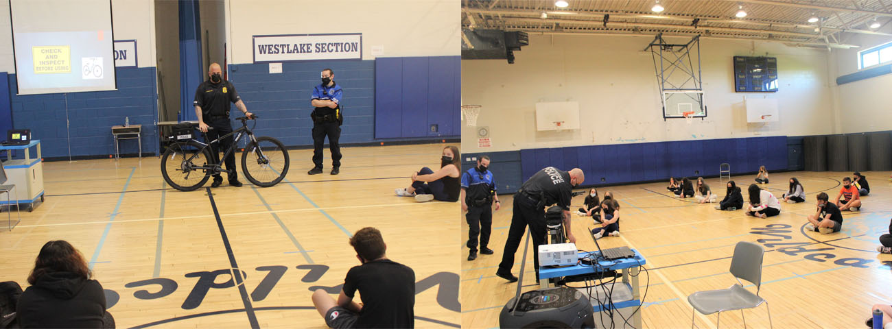 In Ms. Nicodemo's and Mr. Conroy's Physical Education Classes, the Mount Pleasant Police presented a program on bicycle safety.