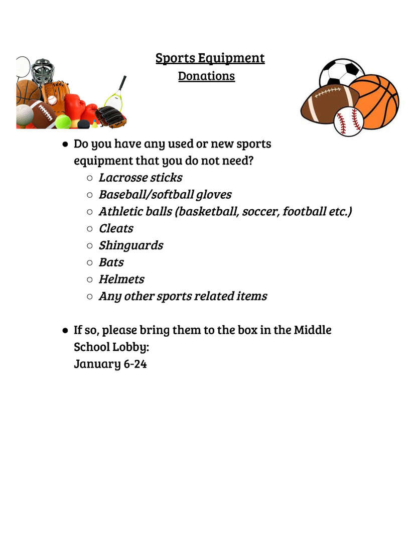 Donating Used Sports Equipment.