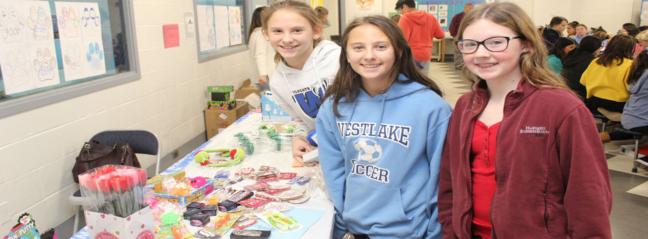 Students at the PTA's Holiday Boutique.