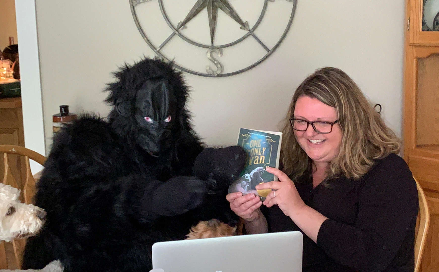"""Mrs. Woolard introduces the book. """"The One and Only Ivan,"""" a book about Ivan the Gorilla to her class with Ivan himself in attendance!"""