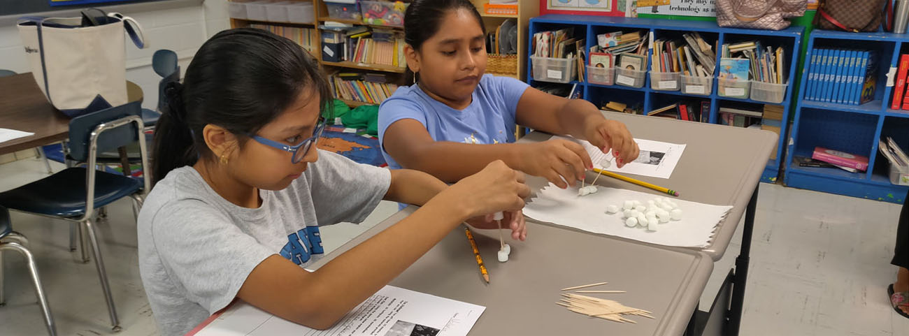 In Mrs. Di Geso's Sixth Grade Math Class, students are working together to build a structure using toothpicks and marshmallows.