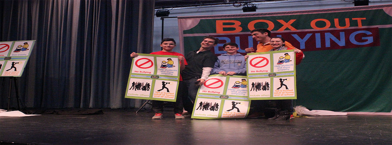 "Students attend an assembly, ""Box Out Bullying.""  Special thanks to the PTA for sponsoring the event."